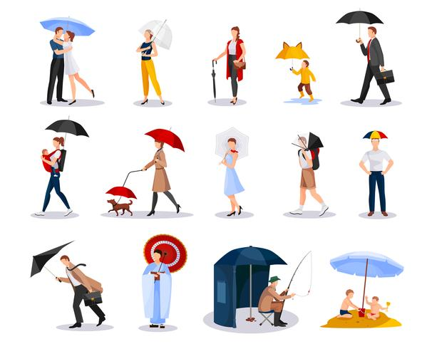 People With Umbrellas Collection  vector