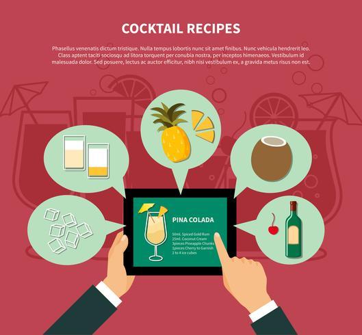Modèle de recette de cocktail vecteur