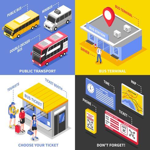 bussterminal isometrisk designkoncept
