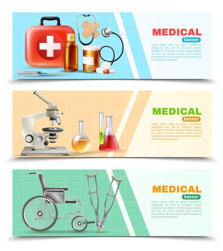 Conjunto de Banners horizontales médicos planos de salud vector