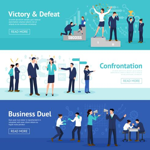 Konstruktiva Business Confrontation Flat Banners Set