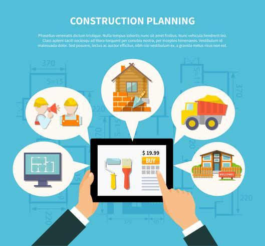 Flat Construction Planning Diagram Concept