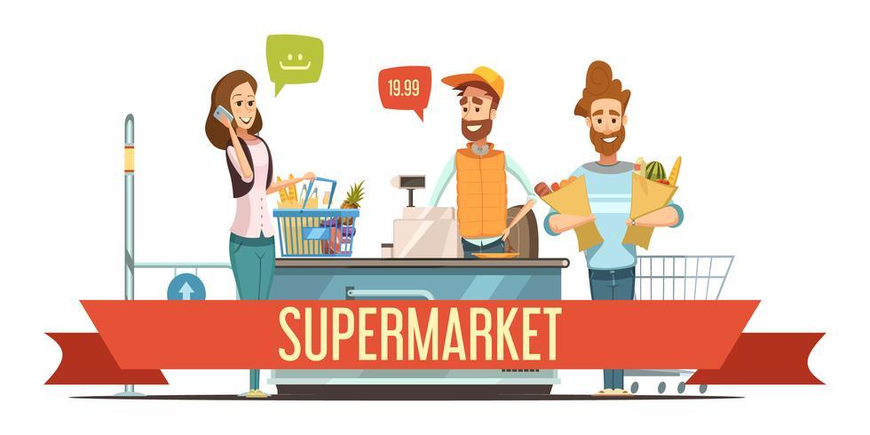 Les clients à l'illustration de dessin animé de caisse de supermarché vecteur