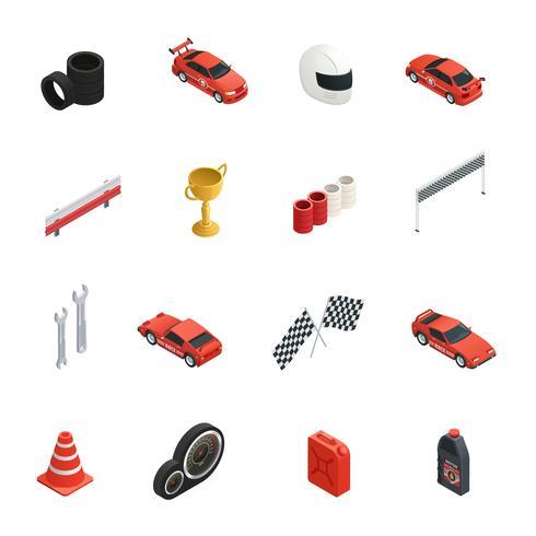 Racing Isometric Icons Set vector