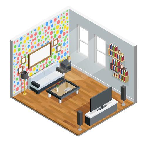 Diseño isométrico de la sala de estar