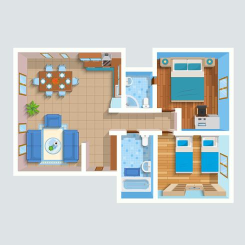 Plan intérieur plat vue de dessus