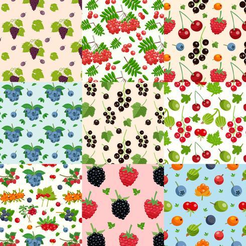 Conjunto de nove padrões de bagas sem emenda