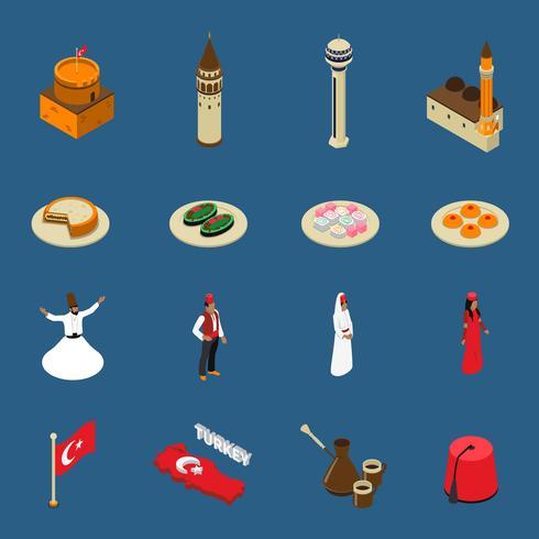 Turkiets Turistiska Isometriska Symboler Ikoner Samling