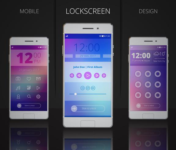 Smartphones Lock Screen Designs vector