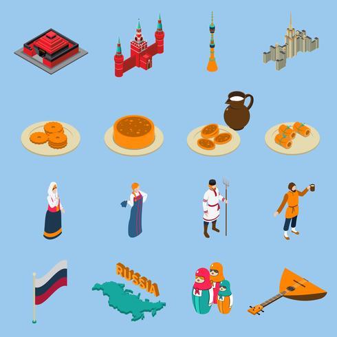 Conjunto de iconos isométricos turísticos de Rusia vector