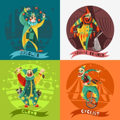 Cirque Clowns 4 Icons Square Concept