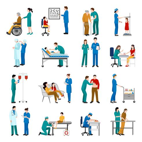 Conjunto de ícones de enfermeira