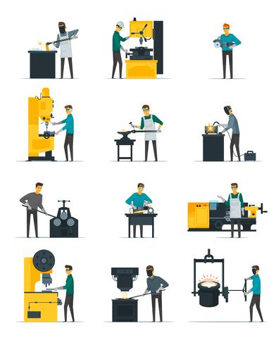 Blacksmith Metalworking Process Flat Icons Collection vector