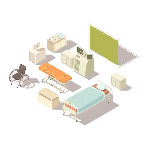 Elementos isométricos do interior do hospital