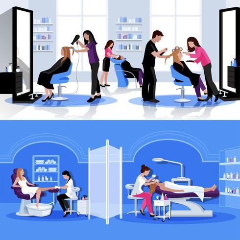Beauty Salon Bunte Zusammensetzung