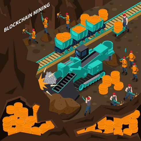 Concept isométrique minière Blockchain vecteur