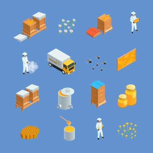 Set di icone isometriche apiario apicoltura