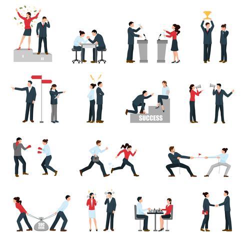 Conjunto de iconos planos personas de confrontación de negocios