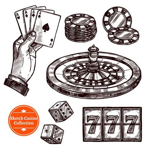 Coleção de mão desenhada Sketch Casino