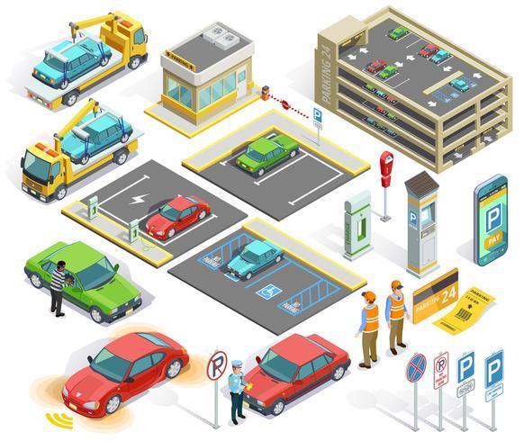 Conjunto de elementos isométricos de aparcamiento vector