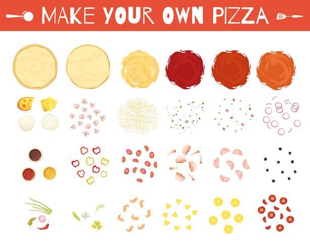 Conjunto de estilo de dibujos animados de elementos de pizza
