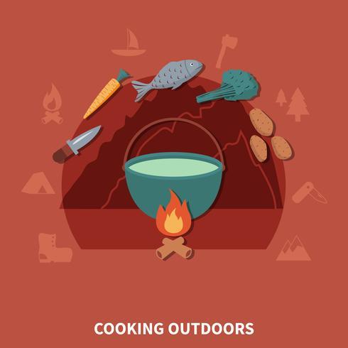 Attrezzatura per escursioni e prodotti alimentari per cucinare all'aperto
