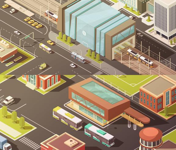 Government Buildings Isometric Banners Set