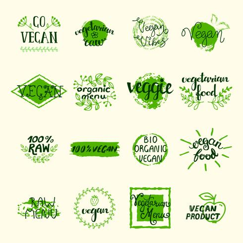 Conjunto de elementos vegan