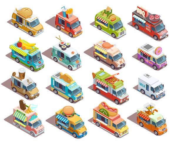 Raccolta isometrica delle icone dei camion dell'alimento della via