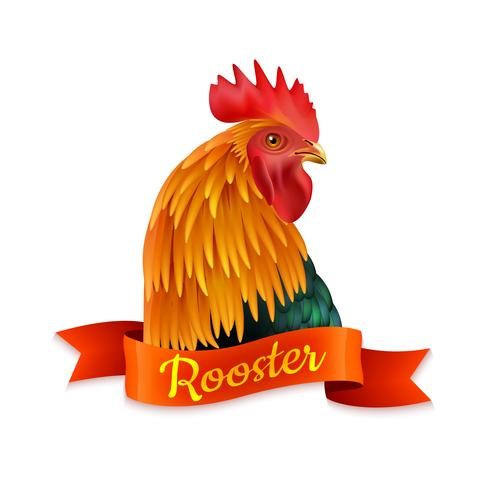 Red Rooster Head Profile Colorful Image