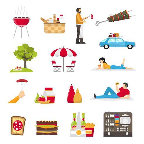 Set da picnic e barbecue vettore