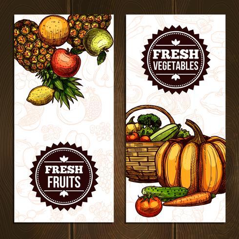 Banners verticales de verduras y frutas