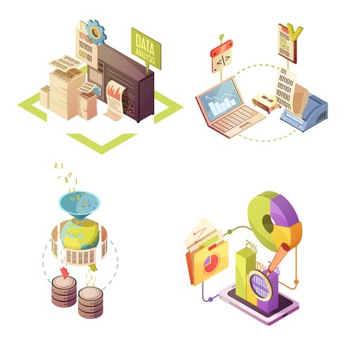 Data Analysis Isometric Compositions vector
