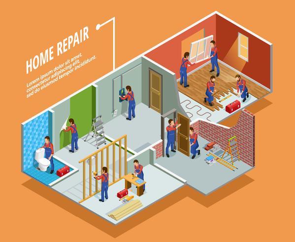 Modèle isométrique de réparation à domicile
