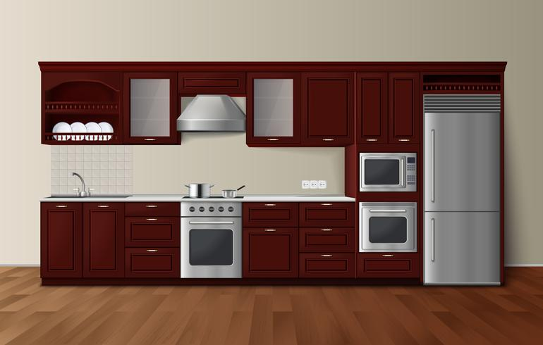 Luxury Kitchen Dark Realistic Interior Image  vector