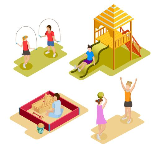 Isometric Playground Icon Set  vector