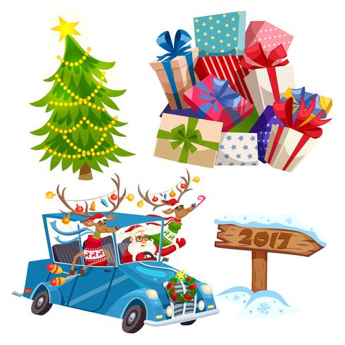 Cartoon Christmas Elements Set