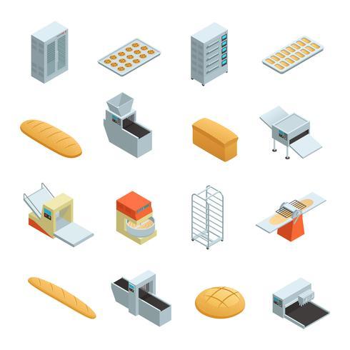 bageri fabrik isometrisk ikonuppsättning