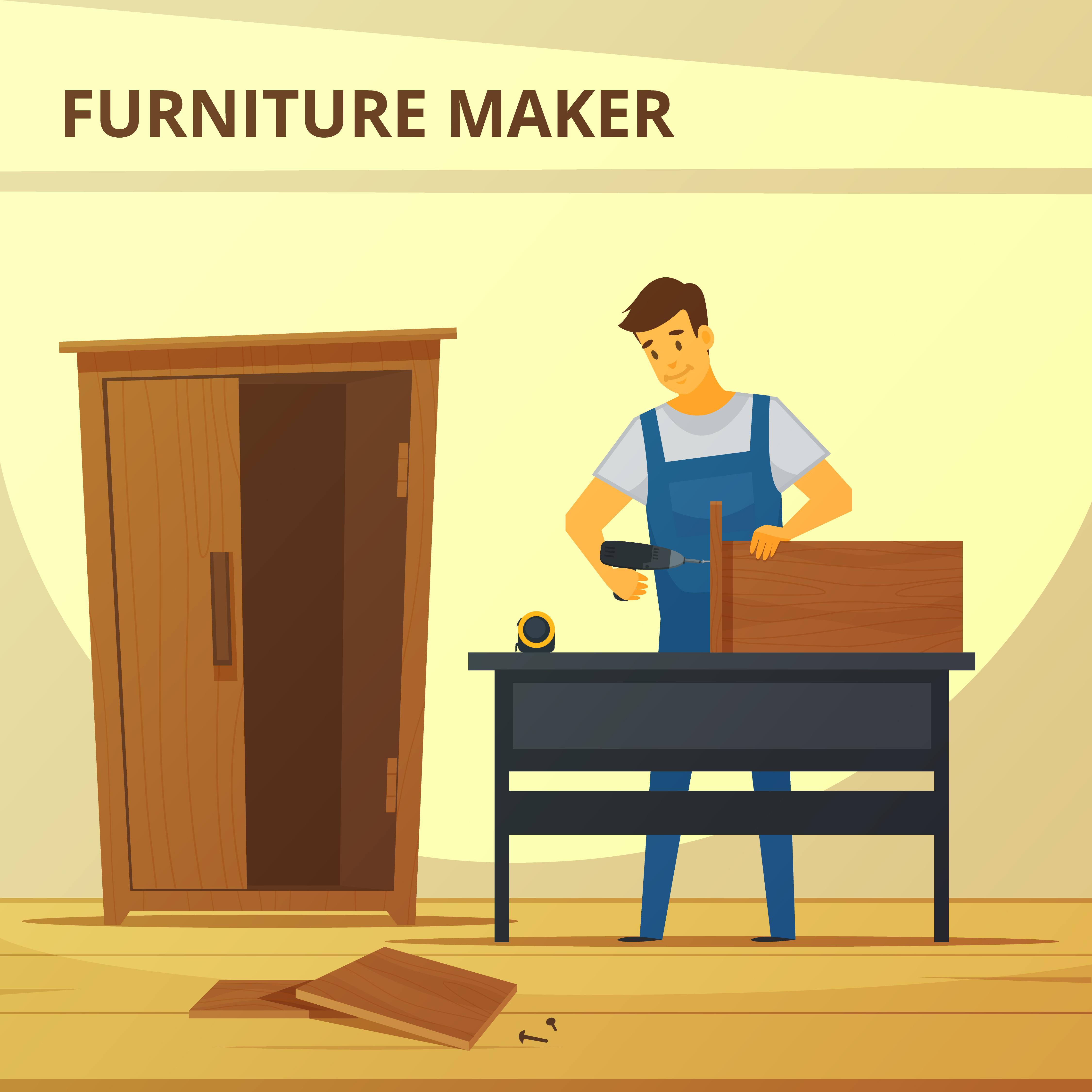 Cabinet Maker Clip Art: Carpenter Assembling Furniture Flat Poster
