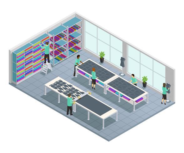 Klädfabrik Isometrisk Sammansättning