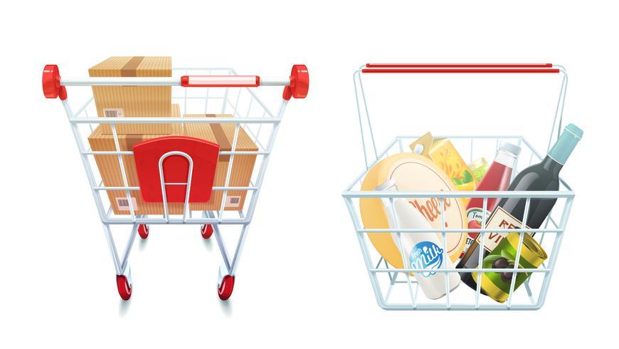 Shopping Cart And Basket Set vector