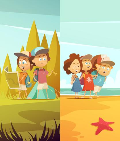 Camping Kids Verticale Banners Set