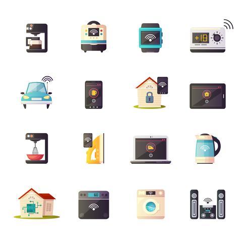 Internet des objets rétro Icons Set