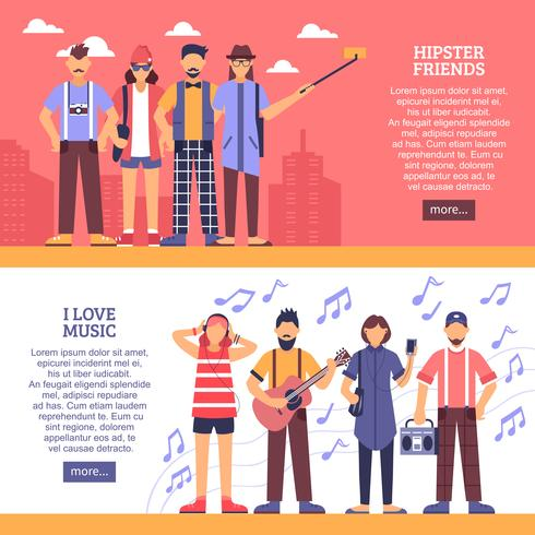 Banners horizontales de hipster vector