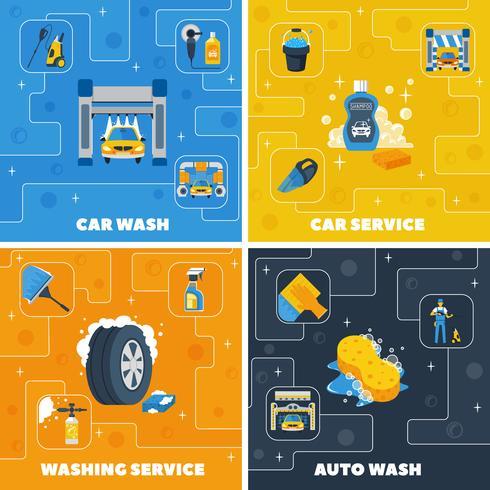 Lavado de coches 4 iconos planos cuadrados