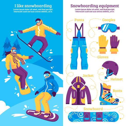 Snowboarding Vertical Banners vector