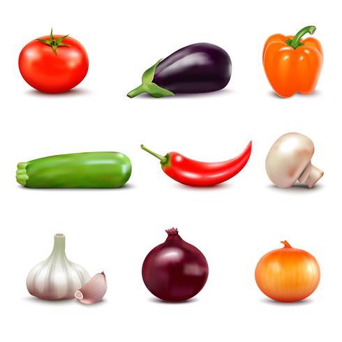 Conjunto de iconos de verduras frescas