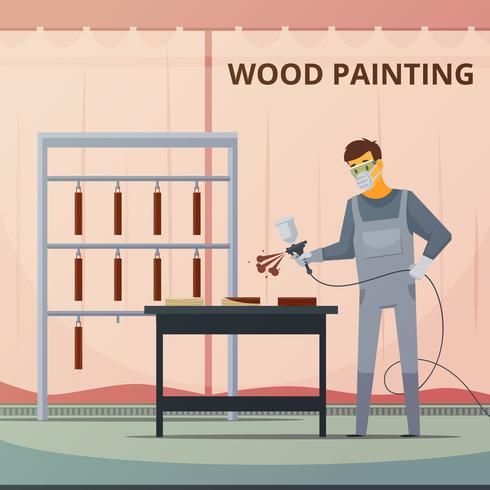Professioneel houtwerk schilderij Flat Poster