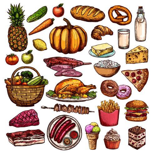 Handdragen matsamling vektor
