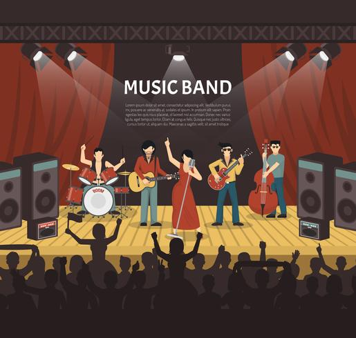 Pop-Musik-Band-Vektor-Illustration